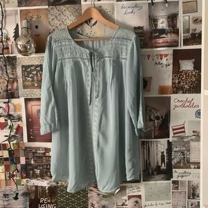 Johnny was | light blue embroidered tunic top